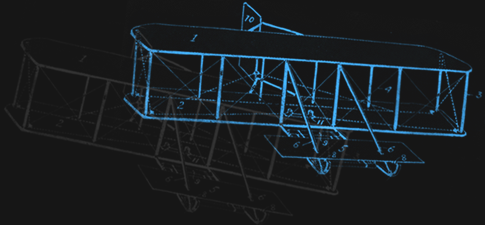 A drawing of the Wright Flyer