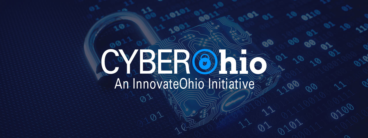 A lock made out of zeroes and ones and the Cyber Ohio logo